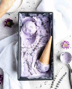 Lavender Earl Grey Ice Cream (No Churn) - Food Duchess Earl Grey Ice Cream, Lavender Ice Cream, Vanilla Bean Ice Cream, Make Ahead Desserts, Frozen Desserts, Frozen Treats, Caramel Shortbread, Shortbread Bars, Purple Food Coloring