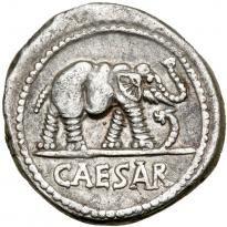 Julius Caesar. Silver Denarius (3.79 g), 49-48 BC. - Price Estimate: $500 - $600 Ancient Rome, Ancient History, Julius Caesar, Antique Coins, Teaching History, Roman Empire, Prehistoric, Sleeve Tattoos, Elephant