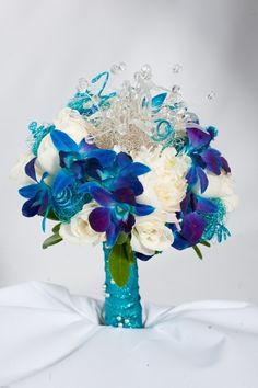 > Quinceanera bouquet: under the sea Quinceanera Peacock Theme, Peacock Wedding, 15th Birthday, Birthday Parties, Wedding Bouquets, Wedding Flowers, Bridesmaid Bouquet, Our Wedding, Dream Wedding