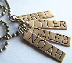 FOUR Hand Stamped Name Tags with a 24 inch Ball Chain by BusyBree, $20.00