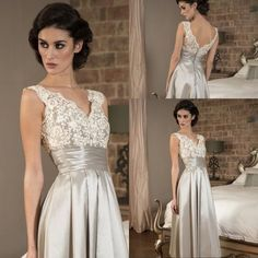 """Grooms Mothers Dress 2015 Gorgeous Sleeveless Lace V Neck Satin Evening Dress A Line Tea Length Long Mother Of The Bride Dresses Mother Dress In Wedding From Globedress, $103.67