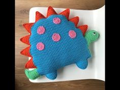 Your place to buy and sell all things handmade Dinosaur Cushion Pdf Crochet Pattern Crochet Cushion Pattern Crochet Baby Jacket, Bag Crochet, Crochet Kids Hats, Crochet For Boys, Cute Crochet, Crochet Toys, Crochet Cushion Pattern, Crochet Cushion Cover, Crochet Cushions