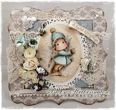 Christmas card by LLC DT Member Becky Hetherington, using papers from Maja Design's Vintage Frost Basics collection and image from Magnolia.