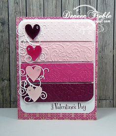 Valentines card using Cuttlebug folders. How about reds and greens for Christmas, or yellows and lavenders for Easter?