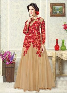 Luscious Beige Coloured Semi-Stitched Gown