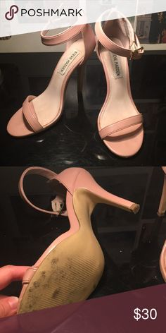 Steve Madden ankle strap heels Almost brand new: Only worn twice. Purchased them for an event but I never wear heels this high. They are a rosy nude color. Steve Madden Shoes Heels