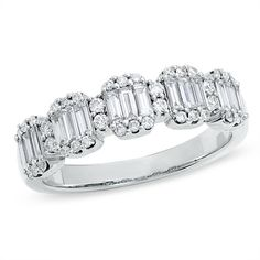 I've tagged a product on Zales: 3/4 CT. T.W. Baguette and Round Diamond Band in 14K White Gold