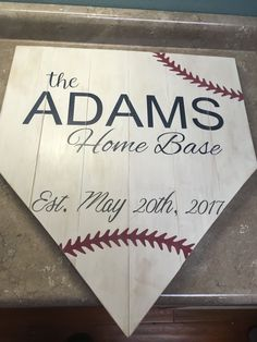 Wooden baseball home plate sign