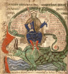 """The Antichrist on the Leviathan, from """"Liber Floridus"""" (1120). Illuminated…"""