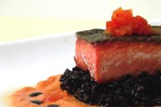 Copper River Sockeye Salmon, Black Rice and Red Pepper Coulis