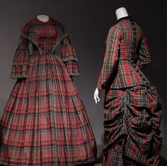 19th century passion for plaid in silk dress (1852) and wool bustle dress.Tartan