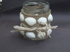Upcycled glass jar decorated with burlap by LilyPadsAndSunshine