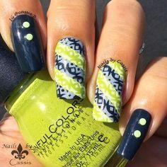 Nails by Cassis: Green x Gray Geometrics Mani #nails #nailart #nailstamping #faburnails