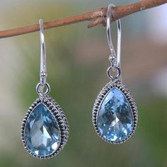 UNICEF Market | Blue Topaz and Sterling Siver Contemporary Dangle Earrings - Dew Drops