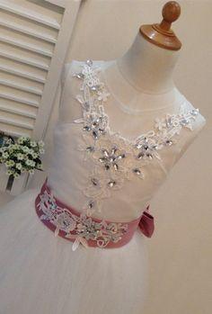 Lace Rhinestone Flower Girl Dresses Tulle Flower by promgirl2016