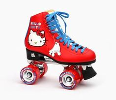 Cult brand Moxi Roller Skates and Sanrio have collaborated to bring you this ultra cool pair of Hello Kitty roller skates. Designed for indoor and outdoor skating or as a unique collector's piece, Moxi Roller Skates are famous worldwide for their comfort and retro design. The classic Hello Kitty face and color pallet, faux leather construction and red glitter gum wheels are just some of these skates' standout features. See Details below before ordering size.   SIZING: Moxi Roller Skates state that the materials of these boots are stiffer and become softer during the break-in period of about 2 weeks. Most women wearing these skates will find a snug fit if they go 1 full size down from their regular US street shoe size. If the skater normally wears a half size shoe, it is advisable to go half a size down. For example, if you are normally a size 7, order the skates in size 6. If you are normally a size 7.5, order the skates in size 7. As always, sizing will vary.