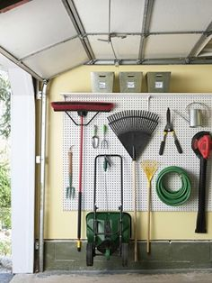Use a Pegboard to Make Space - 49 Brilliant Garage Organization Tips, Ideas and . Use a Pegboard to Make Space – 49 Brilliant Garage Organization Tips, Ideas and DIY Projects Organisation Hacks, Garage Organization Tips, Garage Storage, Workshop Organization, Garage Shelving, Organizing Ideas, Roof Storage, Organization Store, Bin Storage