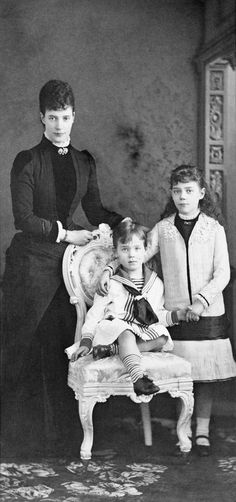 Empress Maria Feodorovna with her daughter Xenia Alexandrovna and her youngest son Michael Alexandrovich