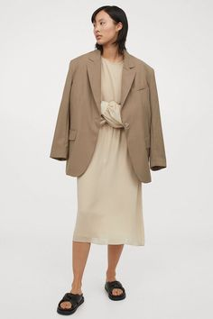 weekend sales Hooded Dress, Belted Shirt Dress, Sun Dress Casual, Calf Length Dress, Ribbed Knit Dress, Beige Dresses, Dress Cuts, Sustainable Clothing, Crepe Dress