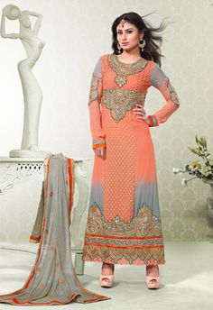 USD 86.72 Mouni Roy Orange Karachi Work Ankle Length Suit  38758