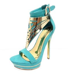 These gorgeous, open-toe sandals buckle at the ankle and are designed with a decorative, metal plate from the ankle to the toe. These chic sandals are...