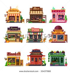 Set of nice shops. Different Showcases: bakery meat shop candy store farm products pizza cafe coffee barbershop bookstore chinese shop flower shop. Minecraft City, Minecraft Designs, Minecraft Houses, Building Illustration, Flat Illustration, Meat Shop, Minecraft Architecture, Illustrations And Posters, Game Design
