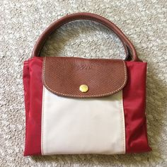 """Longchamp custom Red with white stripe down the middle """"le pliage"""" Longchamp Bags"""