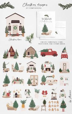 Modern Christmas, Christmas Home, Christmas Crafts, Xmas, Winter Clipart, Christmas Clipart, Christmas Stickers, Winter Wedding Invitations, Christmas Truck