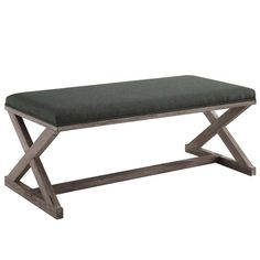 The Gray Barn Wild Hen Vintage French X-brace Upholstered Fabric Bench (Gray) Modern Furniture Stores, Grey Furniture, Coastal Furniture, Living Room Bench, Dining Bench, Dining Room, Accent Bench, Bent Wood, Upholstered Bench