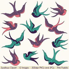Swallows Clip Art Clipart, Birds Clipart Clip Art, Vintage Tattoo Nature - Commercial and Personal Use