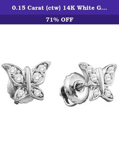 0.15 Carat (ctw) 14K White Gold Round White Diamond Ladies Butterfly Stud Earrings. This lovely diamond earrings feature 0.15 ct white diamonds in prong setting. All diamonds are sparkling and 100% natural. All our products with FREE gift box and 100% Satisfaction guarantee. SKU # K3903-14KW.