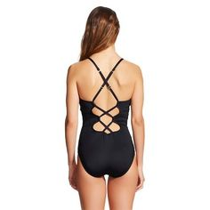 Solid X-Back One Piece Swimsuit Black (M) - Clean Water, Women's