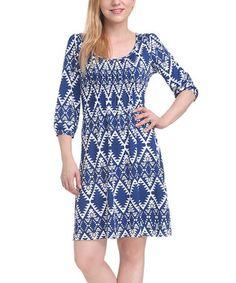 Blue  White Abstract Tribal Diamond Shift Dress