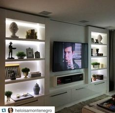 50 Modern and Classic Living Bookcases - Home Decor - Living room tv wall - Living Room Tv Unit Designs, Living Room Wall Units, Living Room Cabinets, Living Room Shelves, Living Room With Fireplace, Home Living Room, Living Room Decor, Tv Cabinets, Decor Room