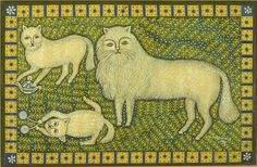 Morris Hirshfield (American, b. Poland, 1872-1946). Cat and Two Kittens. 1945.  Oil on canvas.