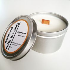 The scent of freshly baked oatmeal cookies, dipped in milk and drizzled in honey in one soy candle. Handmade and hand poured with natural soy wax. Tin Candles, Soy Wax Candles, Soy Candle, Organic Cookies, Milk Makers, Oatmeal Cookies, Baked Oatmeal, Soy Products, Candle Shop