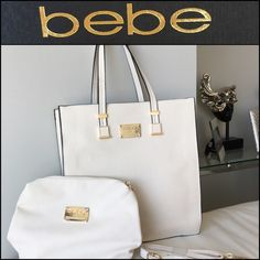 SALE!BEBE Ivory Tote Bag AND Small Shoulder Bag! BEBE Ivory Tote Bag AND Small Shoulder Bag Rachel style! BRAND NEW WITH TAGS! Super stylish rare find! Measurements are: 24x5x28 bebe Bags Totes