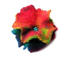 Felted brooch flower multicolor felt wool floral boho OOAK
