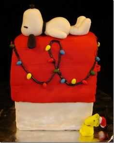 Snoopy's Christmas Dog House Cake