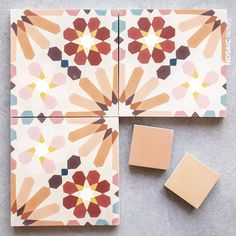 Floral Moroccan cement tile in coral hues from Mosaic Factory. The tile pattern is reference 10217 in colours: R RL RB RM J SM C O BF & Tile Patterns, Textures Patterns, Cement Tiles Bathroom, Mosaic Del Sur, Terrazo, Home Design Diy, Pink Tiles, Candle Packaging, Cement Crafts