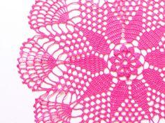 Pink fuchsia hand dyed Crochet Vintage Doily #katrinshinesupplies #handmade #crochet #vintage #craft #etsy #doily #crochetdoily #homedecor