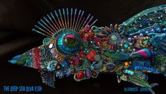 I am so INTO this!> The Fantastic Bead Mosaics Sealife Series The DEEP SEA Diva Fish. $645.00, via Etsy.