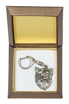 NEW, Chihuahua (long haired), dog keyring, key holder, in casket, limited edition, ArtDog ** Learn more by visiting the image link.