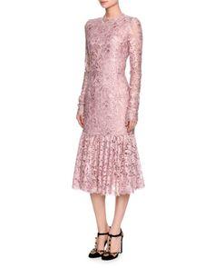 Long-Sleeve+Lace+Flounce-Hem+Dress,+Light+Pink+by+Dolce+&+Gabbana+at+Neiman+Marcus.