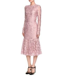Long-Sleeve+Lace+Flounce-Hem+Dress,+Light+Pink+by+Dolce+&+Gabbana+at+Neiman+Marcus.