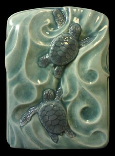 Tile, Wall art, ceramic tile, animal art, Sea turtles, Twins, 4x 5 inches  Baby Green sea turtles by MedicineBluffStudio on Etsy