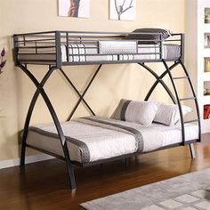 Twin/Full Bunk Bed in Chrome & Dark Gray Finish by Furniture of America