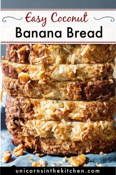 Tropical coconut banana bread is the best thing ever! This banana bread is moist, delicious and so easy to make. You can even freeze it! It's great as a midday snack with a cup of coffee! #bananabread #bananabreadrecipe #coconutbread #quickbread #quickbreadrecipe
