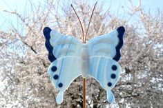 Fused Glass Butterfly Garden Stake Yard Art Plant Stake Housewarming Gift Mothers Day Gift by PurpleSlugGlassArt on Etsy