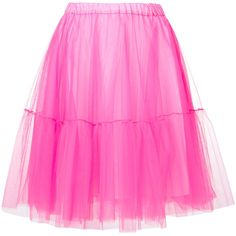P.A.R.O.S.H. tulle skirt featuring polyvore, women's fashion, clothing, skirts, pink skirt, neon pink skirt, tulle skirts, neon skirts and knee length tulle skirt